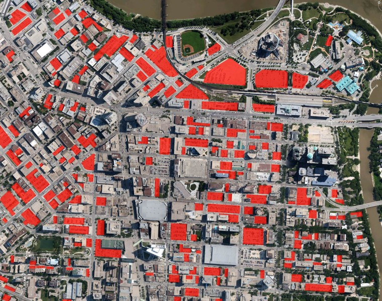 Red = surface parking lots