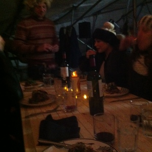 The cozy tasting room table at RAW Almond 2014