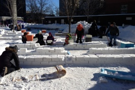 The SnowMazeing maze at Millennium Library Park